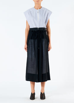 Gauze Overlay Double Waist Skirt Black-4
