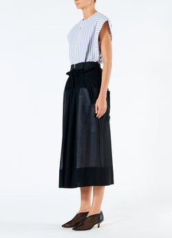 Gauze Overlay Double Waist Skirt Black-5