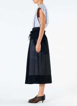 Gauze Overlay Double Waist Skirt Black-6