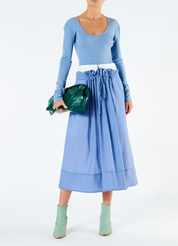 Gauze Overlay Double Waist Skirt Smoke Blue-1
