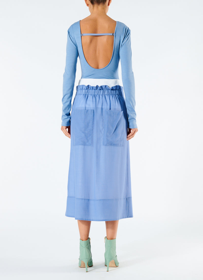 Gauze Overlay Double Waist Skirt Smoke Blue-3
