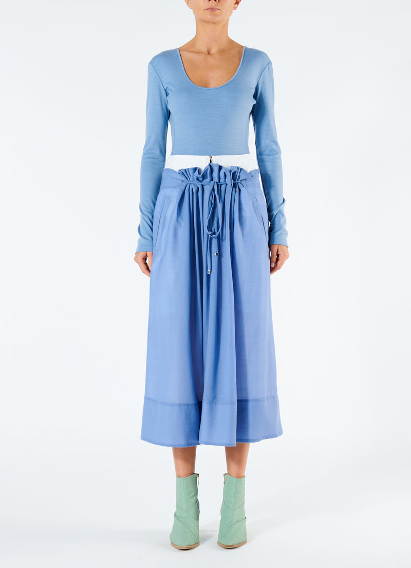 Gauze Overlay Double Waist Skirt Smoke Blue-4
