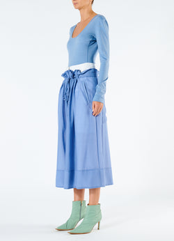 Gauze Overlay Double Waist Skirt Smoke Blue-5