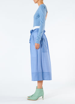 Gauze Overlay Double Waist Skirt Smoke Blue-6