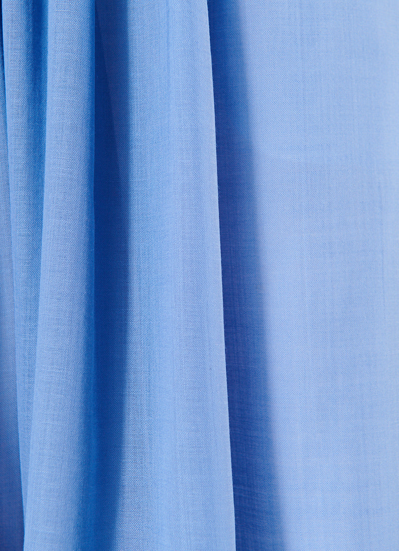 Gauze Overlay Double Waist Skirt Smoke Blue-8