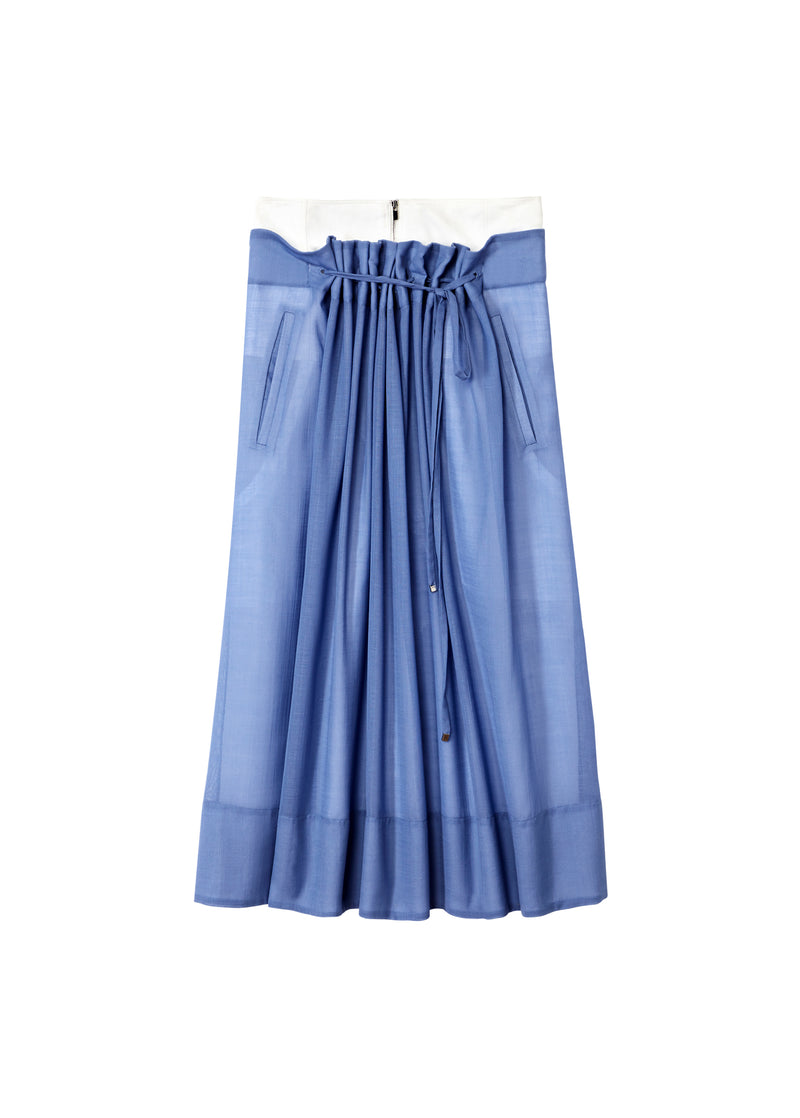 Gauze Overlay Double Waist Skirt Smoke Blue-2