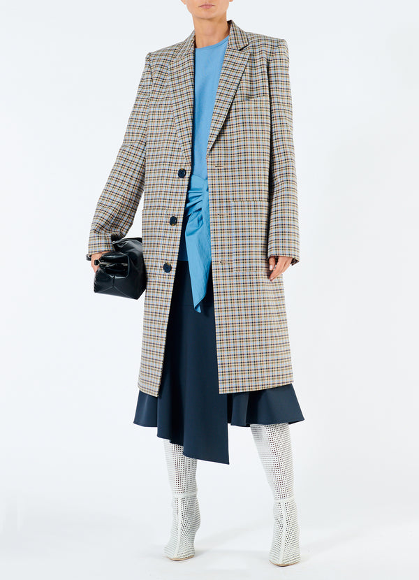 티비 체크 랩 코트 Tibi Zion Plaid Lab Coat,Tan Multi