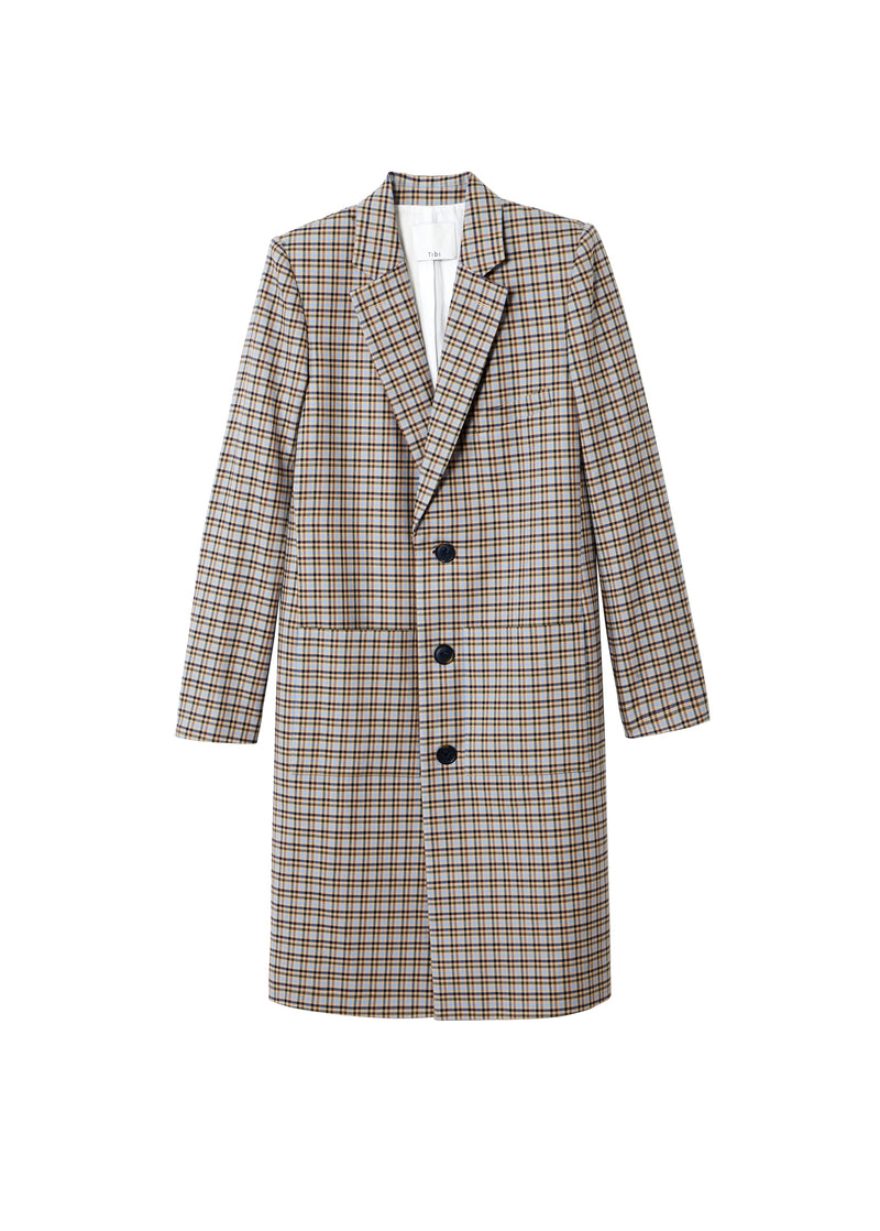 Zion Plaid Lab Coat Tan Multi-2