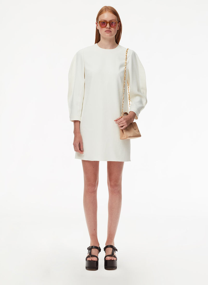 Chalky Drape Origami Sleeve Shift Dress White-1