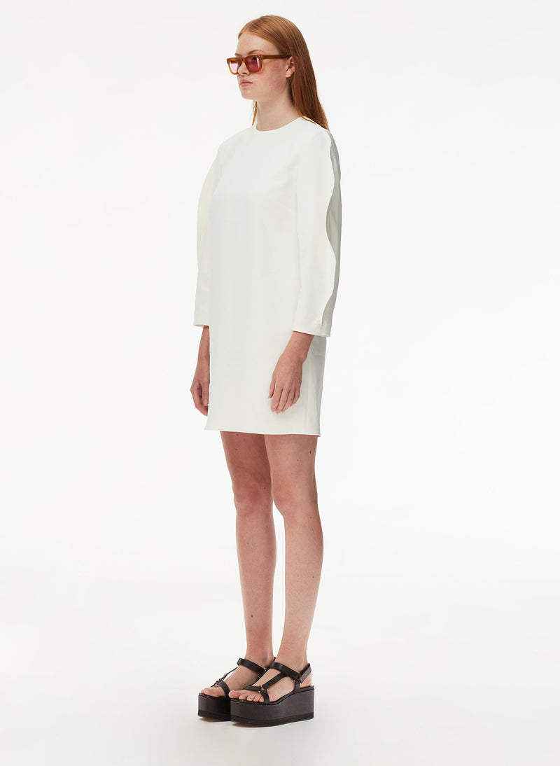 Chalky Drape Origami Sleeve Shift Dress White-10