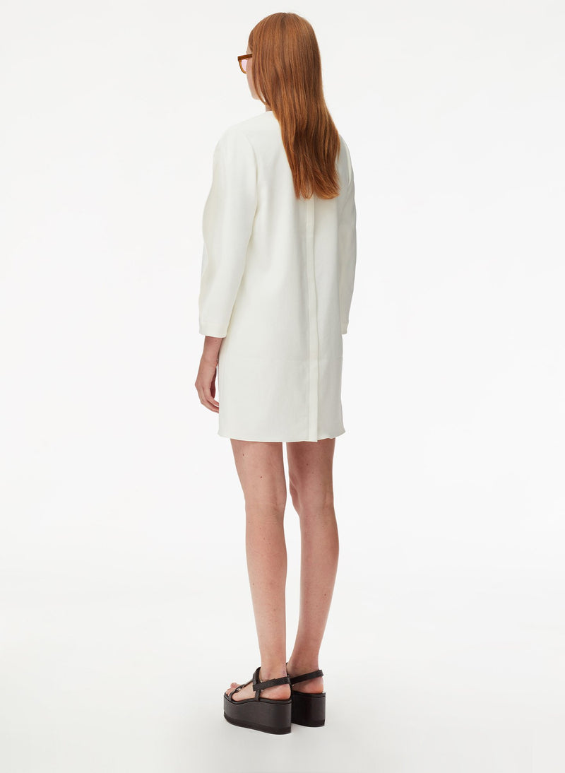 Chalky Drape Origami Sleeve Shift Dress White-3