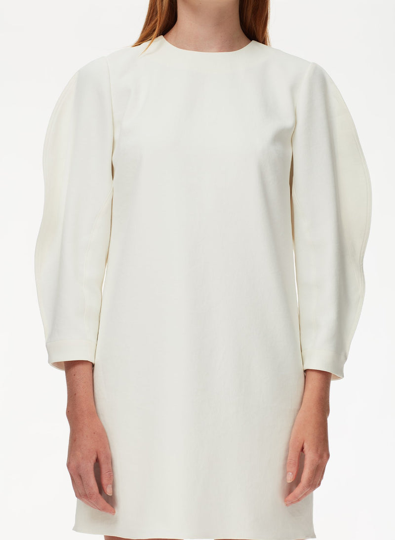 Chalky Drape Origami Sleeve Shift Dress White-4
