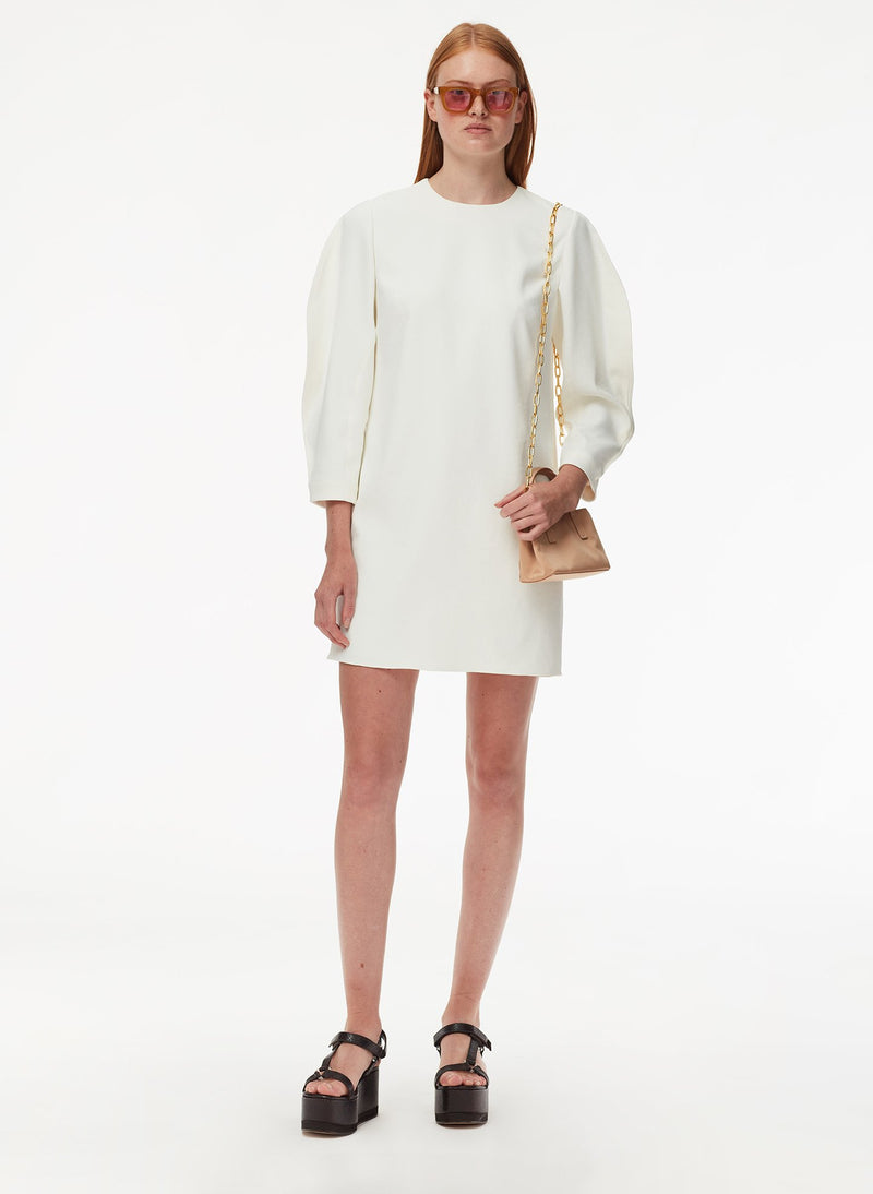 Chalky Drape Origami Sleeve Shift Dress White-5