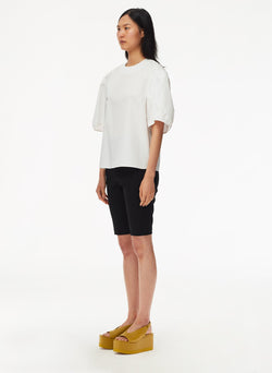 Eco Poplin Balloon Sleeve Top White-2