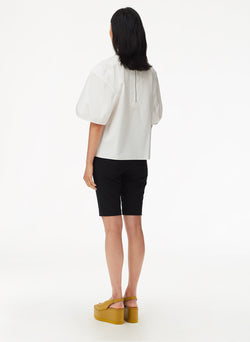 Eco Poplin Balloon Sleeve Top White-3