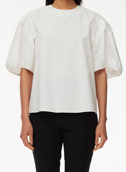 Eco Poplin Balloon Sleeve Top White-4