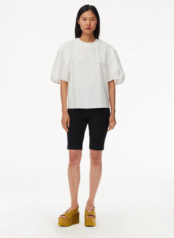 Eco Poplin Balloon Sleeve Top White-5