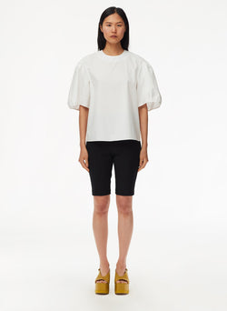 Eco Poplin Balloon Sleeve Top White-1