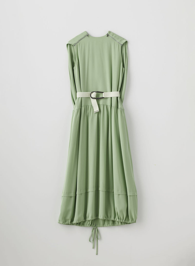 Eco Silk Cape Dress with Belt Mint-8