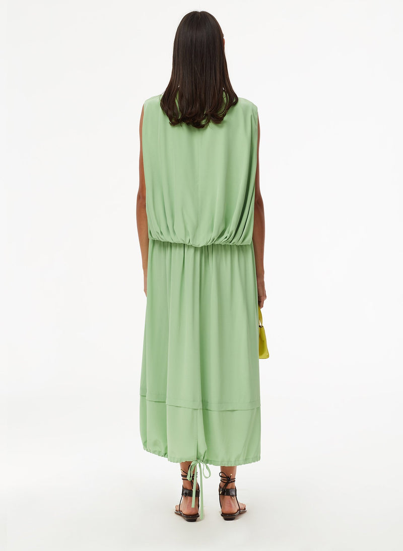 Eco Silk Cape Dress with Belt Mint-4