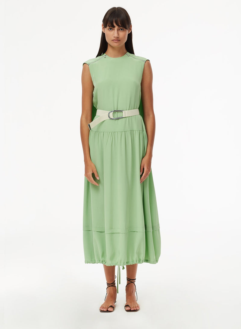 Eco Silk Cape Dress with Belt Mint-1