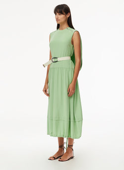 Eco Silk Cape Dress with Belt Mint-2