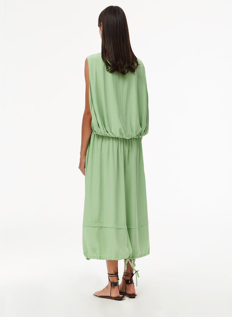 Eco Silk Cape Dress with Belt Mint-3