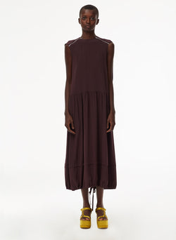 Eco Silk Cape Dress with Belt Plum-10