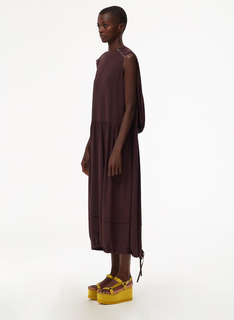 Eco Silk Cape Dress with Belt Plum-11