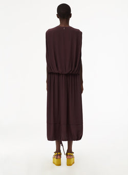 Eco Silk Cape Dress with Belt Plum-12