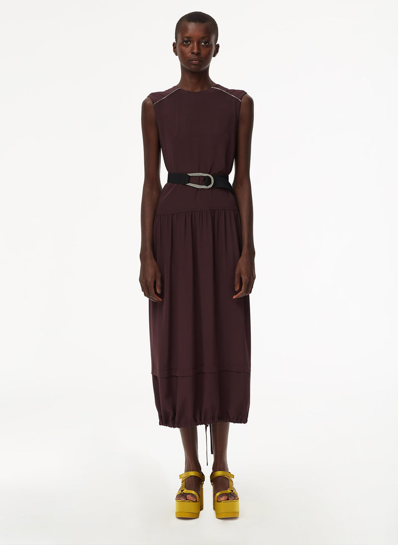 Eco Silk Cape Dress with Belt Plum-16