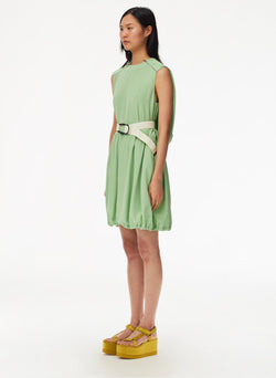 Eco Silk Short Cape Dress with Belt Mint-5
