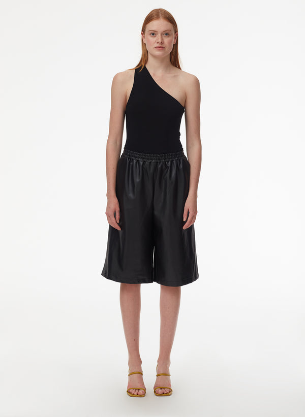 Faux Leather Relaxed Long Leather Short