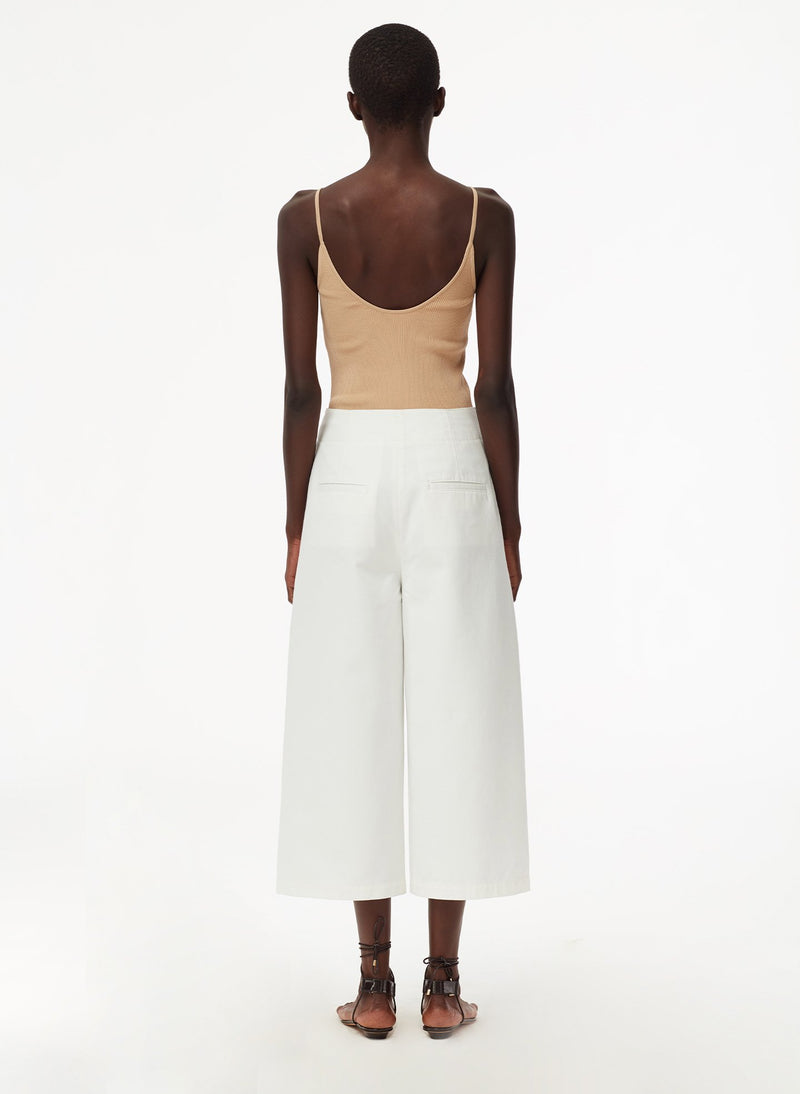Garment Dyed Twill Cropped Jean White-2