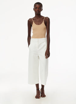 Garment Dyed Twill Cropped Jean White-3