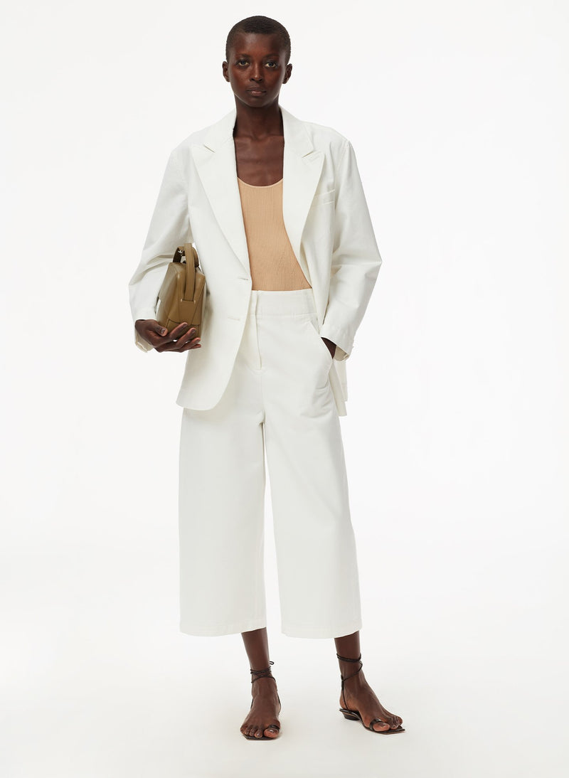 Garment Dyed Twill Cropped Jean White-4