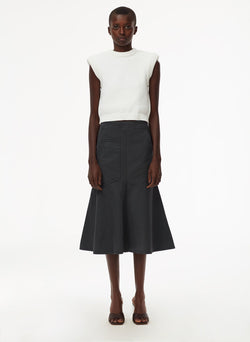 Garment Dyed Twill Long Skirt Storm Grey-1