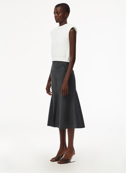 Garment Dyed Twill Long Skirt Storm Grey-2