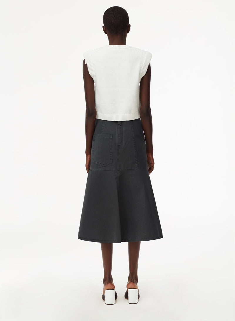 Garment Dyed Twill Long Skirt Storm Grey-3