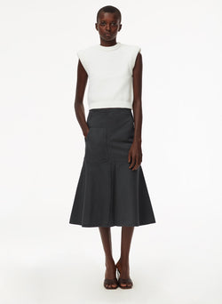 Garment Dyed Twill Long Skirt Storm Grey-5