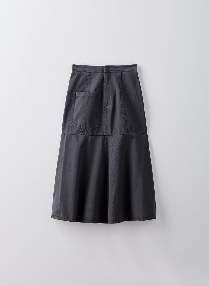 Garment Dyed Twill Long Skirt Storm Grey-8