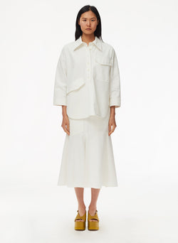 Garment Dyed Twill Long Skirt White-9