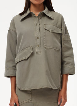 Garment Dyed Twill Oversized Cocoon Shirt Garment Dyed Twill Oversized Cocoon Shirt