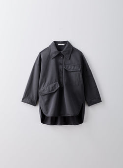 Garment Dyed Twill Oversized Cocoon Shirt Storm Grey-5