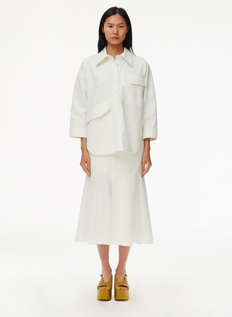 Garment Dyed Twill Oversized Cocoon Shirt White-9
