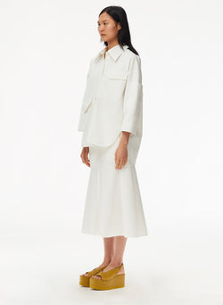 Garment Dyed Twill Oversized Cocoon Shirt White-10