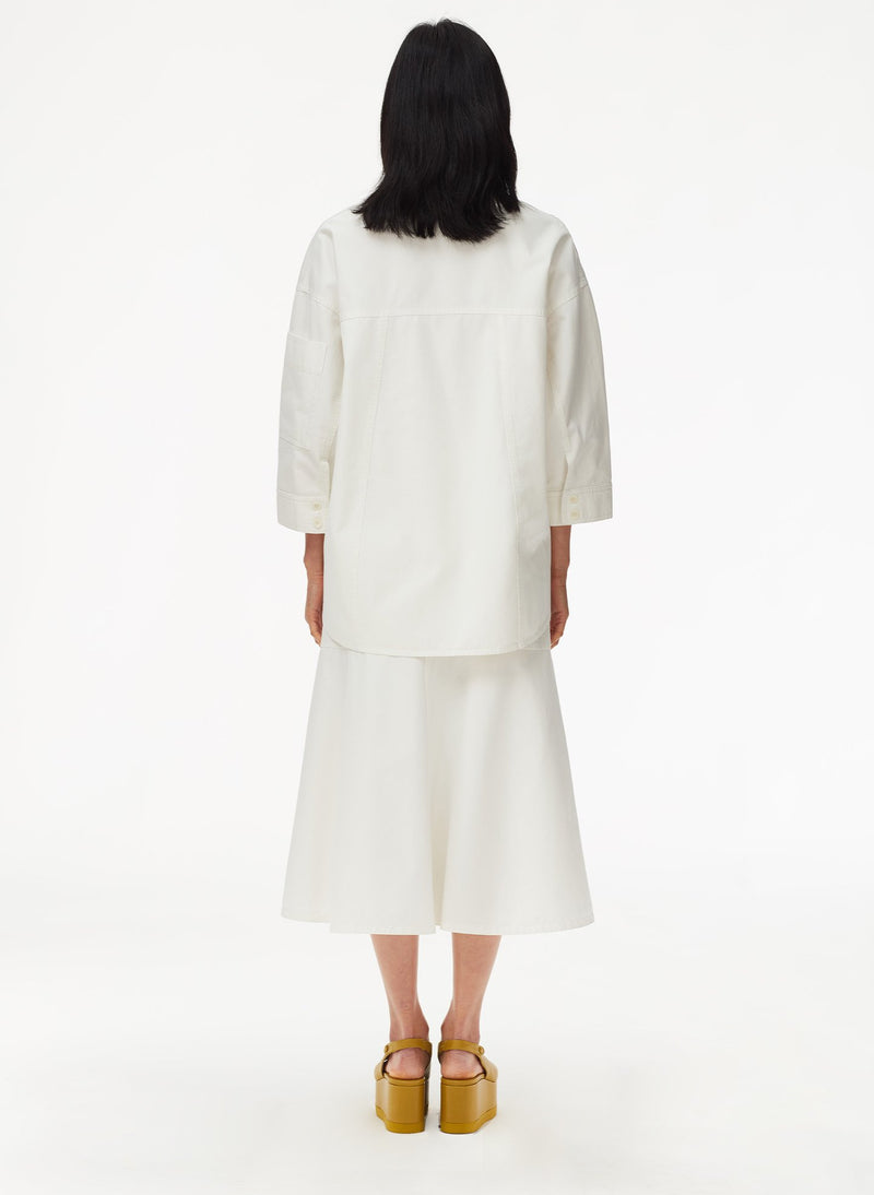 Garment Dyed Twill Oversized Cocoon Shirt White-11
