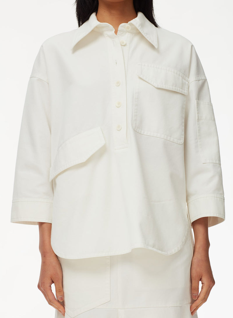 Garment Dyed Twill Oversized Cocoon Shirt White-12