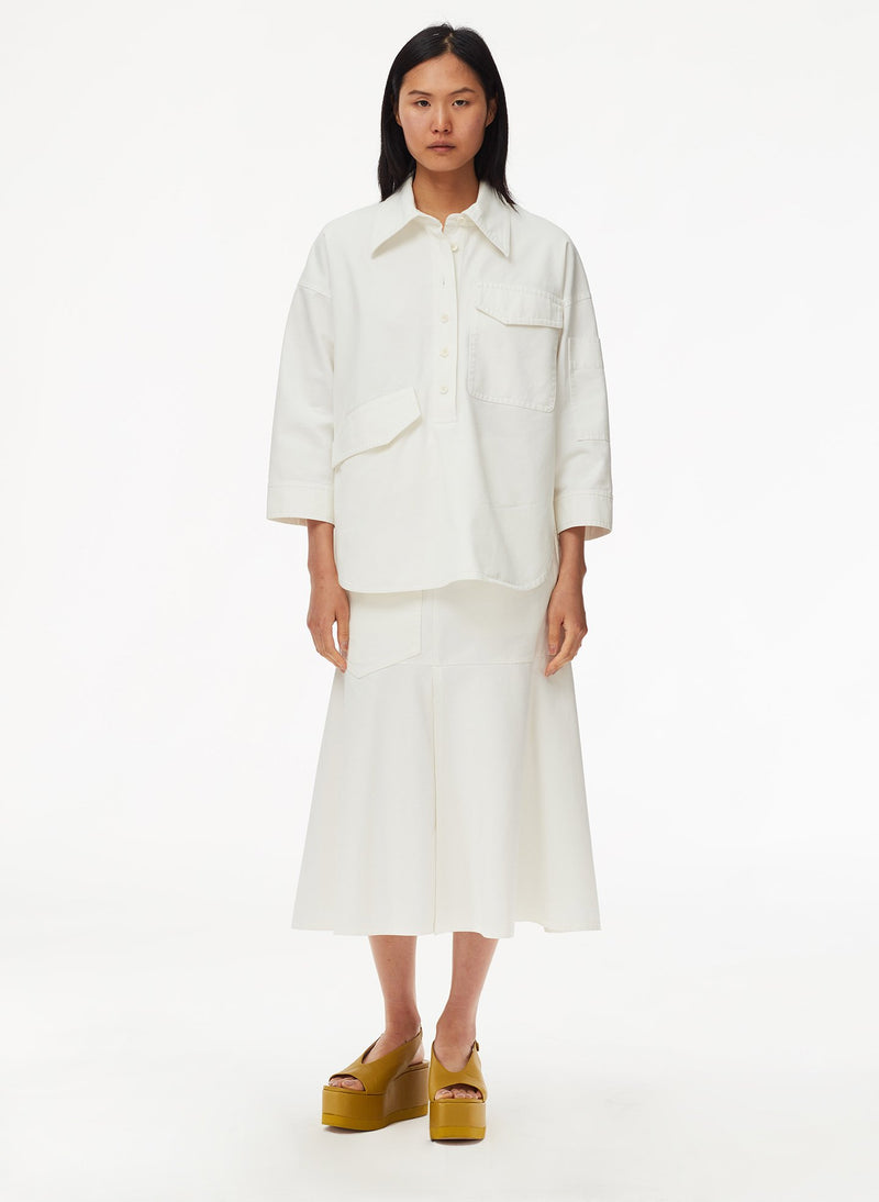 Garment Dyed Twill Oversized Cocoon Shirt White-13
