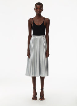 Metallic Nylon Pleated Skirt Silver-1